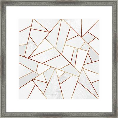 White Stone And Copper Lines Framed Print by Elisabeth Fredriksson