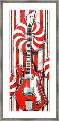 Framed Print featuring the painting White Stripes Guitar by John Gibbs