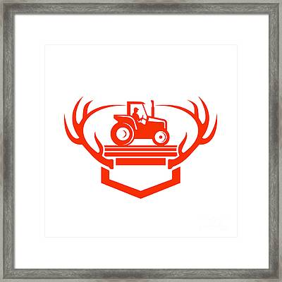 White Tail Deer Antler Tractor Retro Framed Print