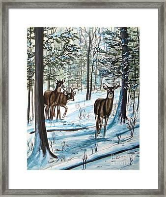 Framed Print featuring the painting White Tail Deer In Winter by Patricia L Davidson