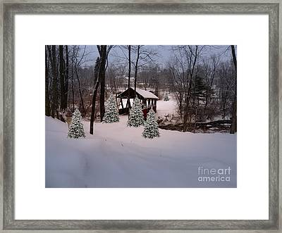 White Tailed Buck At Belmont N H Covered Bridge Framed Print by Mim White