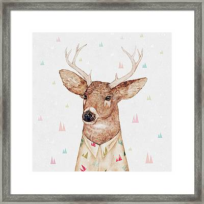 White Tailed Deer Square Framed Print by Animal Crew