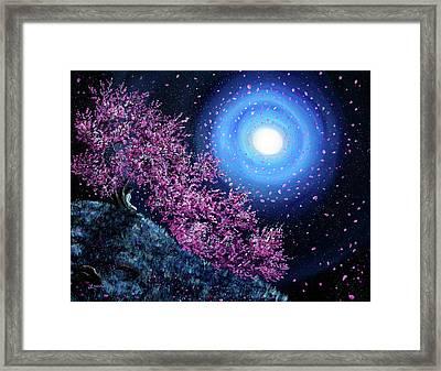 White Tara In Cascading Sakura Framed Print