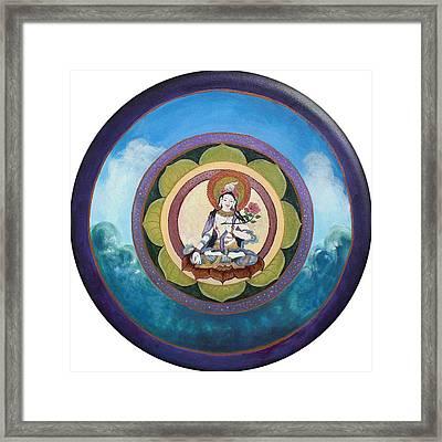 White Tara Mandala Framed Print by Jo Thompson