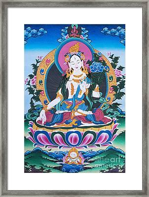 White Tara Thangka Framed Print by Tim Gainey