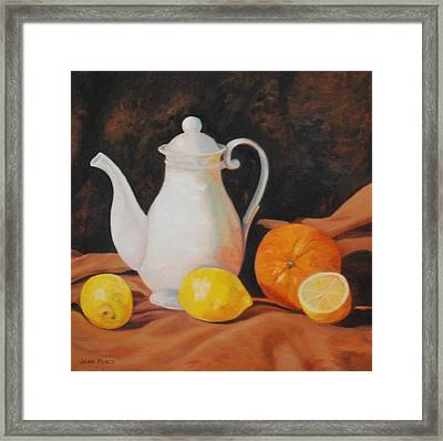 White Teapot Framed Print by Jean Peace