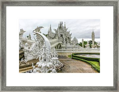 White Temple Thailand Framed Print