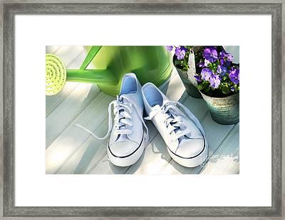 White Tennis Running Shoes Framed Print by Sandra Cunningham