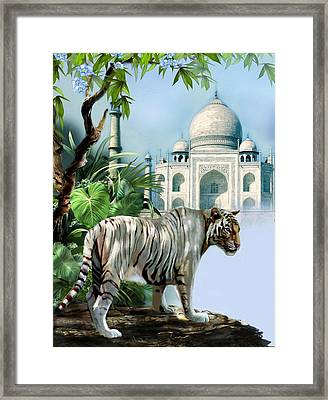 White Tiger And The Taj Mahal Image Of Beauty Framed Print
