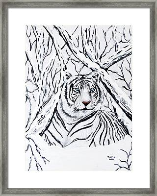 Framed Print featuring the painting White Tiger Blending In by Teresa Wing
