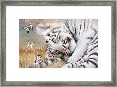 White Tiger Dreams Framed Print
