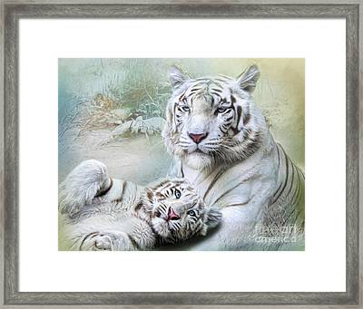 Framed Print featuring the digital art  White Tiger by Trudi Simmonds