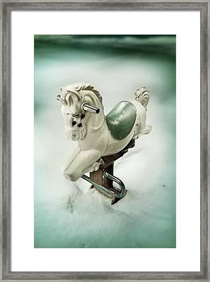 White Toy Horse Framed Print by Yo Pedro
