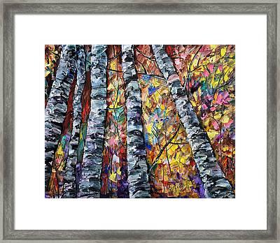 White Trees  - Palette Knife  Framed Print