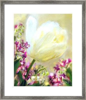 White Tulip Glow Framed Print by Patty Muchka