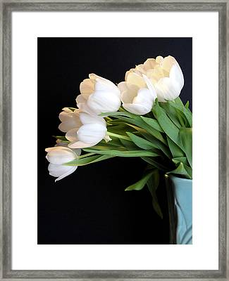 White Tulips In Blue Vase Framed Print
