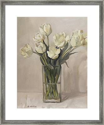 White Tulips In Rectangular Glass Vase Framed Print