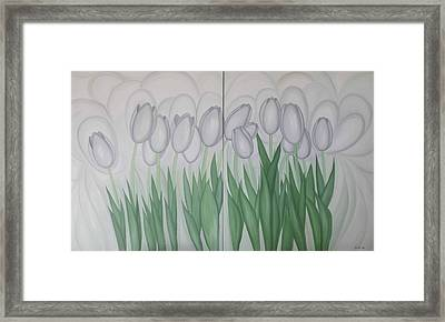 White Tulips  Framed Print by Marinella Owens
