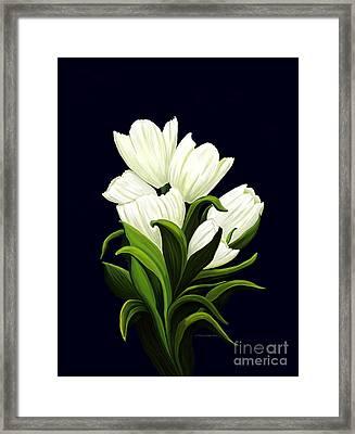 White Tulips Framed Print