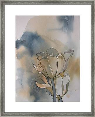 White Tulips With Blues Framed Print