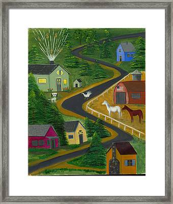 White Turkey Day On The Road To Prosperity Framed Print