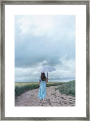 White Umbrella Framed Print