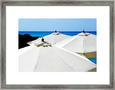 White Umbrellas Framed Print by Karen Wiles
