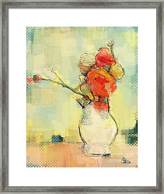 Framed Print featuring the painting White Vase by Carrie Joy Byrnes