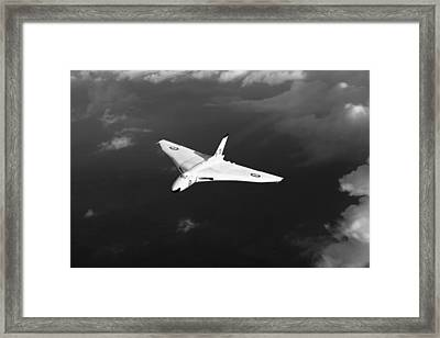 Framed Print featuring the digital art White Vulcan B1 At Altitude Black And White Version by Gary Eason