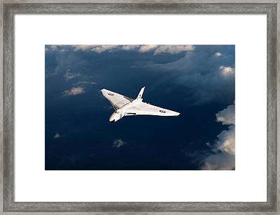 Framed Print featuring the digital art White Vulcan B1 At Altitude by Gary Eason
