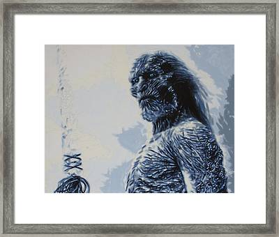 Framed Print featuring the painting White Walker by Luis Ludzska