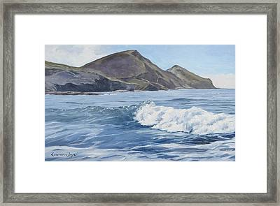 Framed Print featuring the painting White Wave At Crackington  by Lawrence Dyer