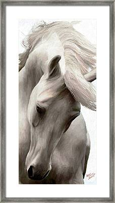 Framed Print featuring the painting White Whisper by James Shepherd