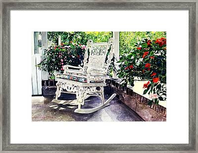 White Wicker - Stockbridge Ma Framed Print by David Lloyd Glover