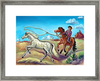 White Wind And Knotty Whiskers - Story Illustration - Age 12 Framed Print by Dawn Senior-Trask
