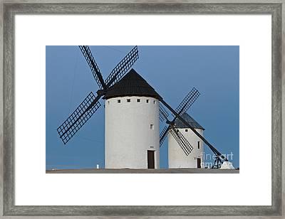 White Windmills Framed Print