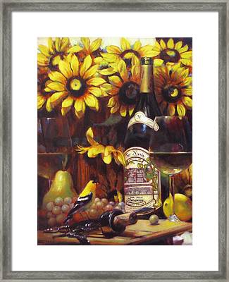 White Wine And Gold Finch With Sun Flower Framed Print by Takayuki Harada
