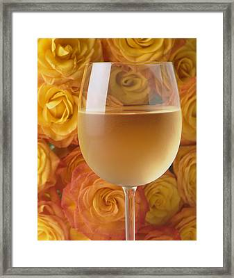 White Wine And Yellow Roses Framed Print