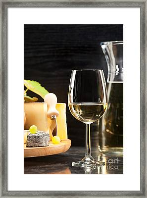 White Wine With Cheese Platter Framed Print