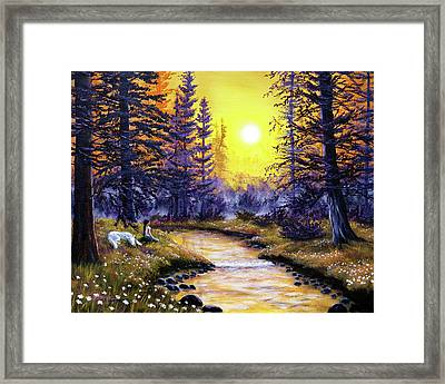 White Wolf Meditation Framed Print by Laura Iverson