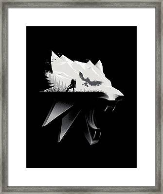 White Wolf - Minimalist Framed Print by Lobito Caulimon