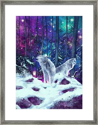 White Wolves Framed Print by Bekim Art