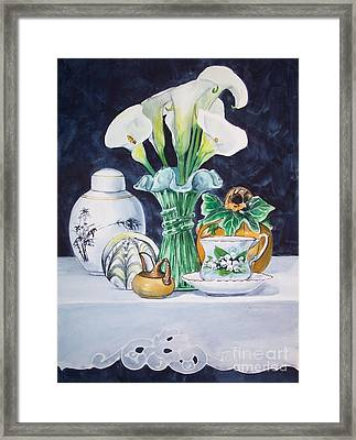 White Yellow And Green Composition Framed Print