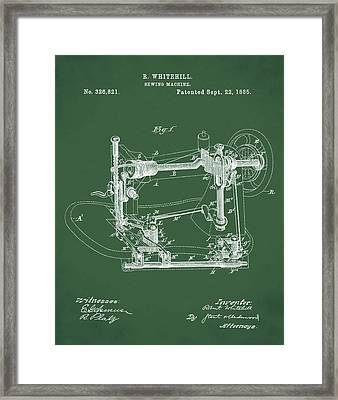 Whitehill Sewing Machine Patent 1885 Green Framed Print by Bill Cannon