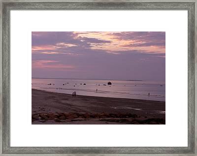 Whitehorse Beach - Sunset Framed Print by Nancy Ferrier