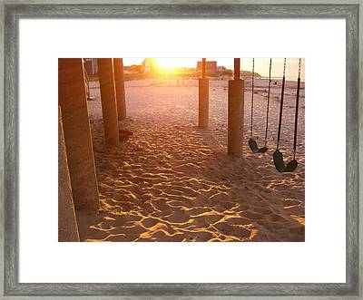 Whitehorse Beach - Swings Framed Print by Nancy Ferrier