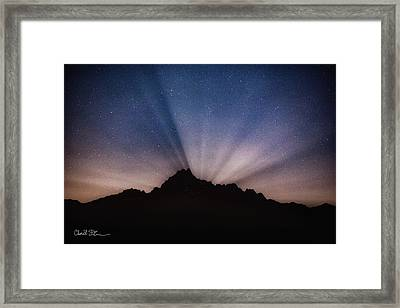 Whitehorse Mountain Moon Rays Framed Print
