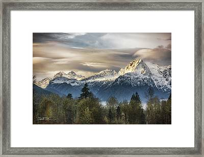 Whitehorse Sunrise, Flowing Clouds Framed Print