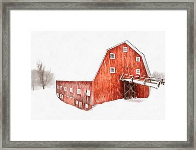 Whiteout On The Farm Blizzard Stella Framed Print by Edward Fielding