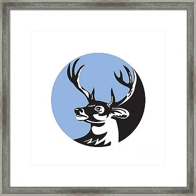 Whitetail Deer Buck Head Circle Retro Framed Print